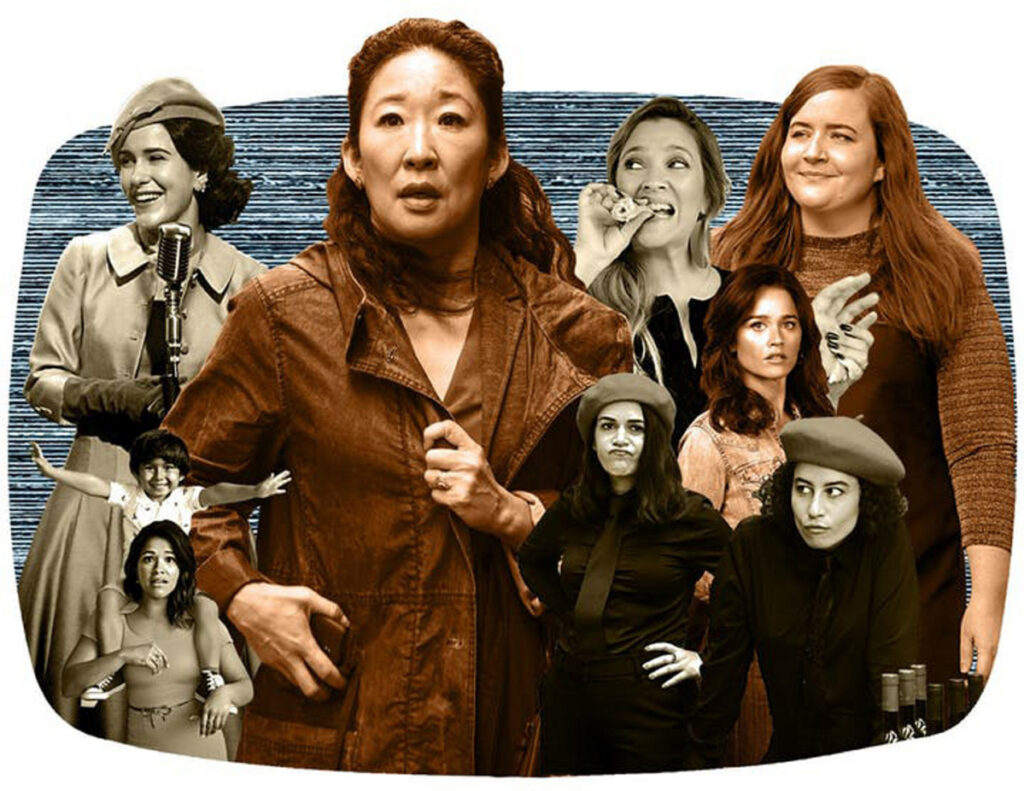 """Clockwise from lower left: """"Jane the Virgin,"""" """"The Marvelous Mrs. Maisel,"""" """"Killing Eve,"""" """"Santa Clarita Diet,"""" """"Shrill,"""" """"The Fix"""" and """"Broad City."""""""