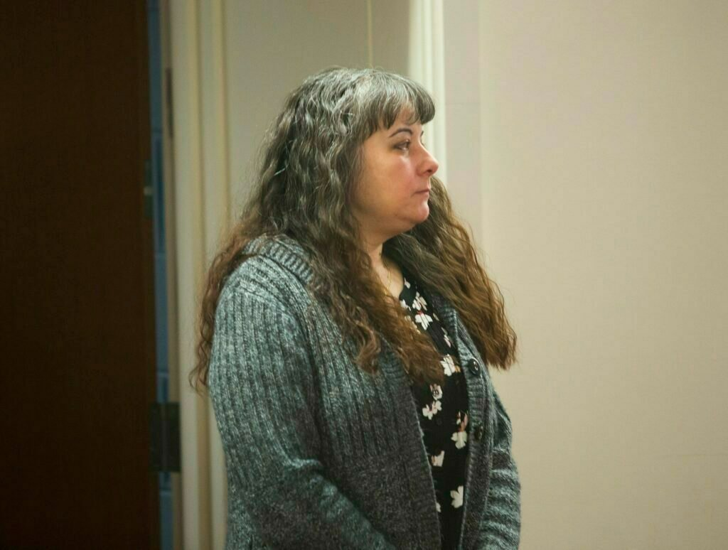 Shawna Gatto, charged with depraved indifference murder in the death of 4-year-old Kendall Chick, appears at the Capital Judicial Center in Augusta on April 2, the second day of her trial.