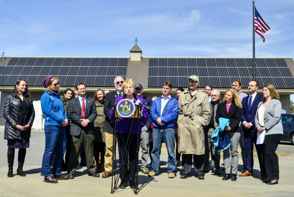 Gov. Janet Mills speaks during Tuesday's signing ceremony for a solar energy bill at Rocky's Stove Shop in Augusta. The shop's 83 solar panels produce enough electricity to power the store, two warehouse and three homes, according to the shop's manager, Ashley Gaslin.