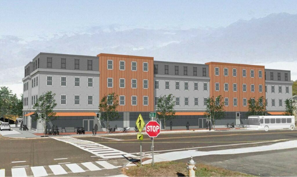 A rendering shows Thornton Heights Commons on Main Street in South Portland. The first floor will be devoted to Class A retail space; upper levels, to housing.