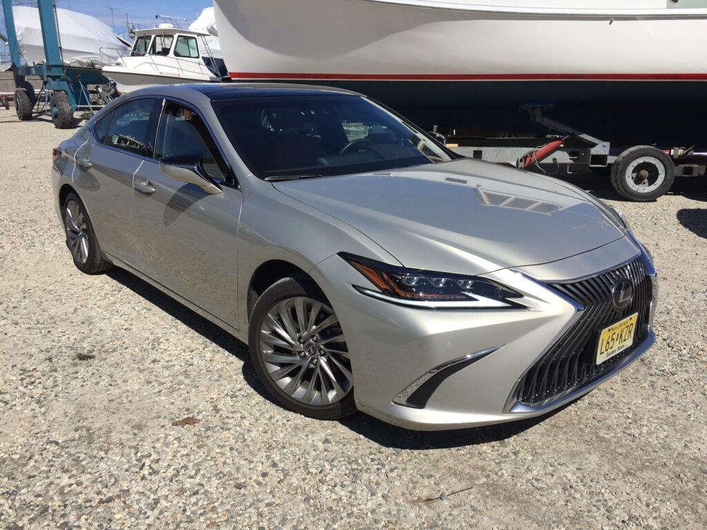 The top Lexus ES shown is $39,600 to start, $53,742 in Ultra Lux trim. Photo by Tim Plouff. Location: Freeport Boatyard.