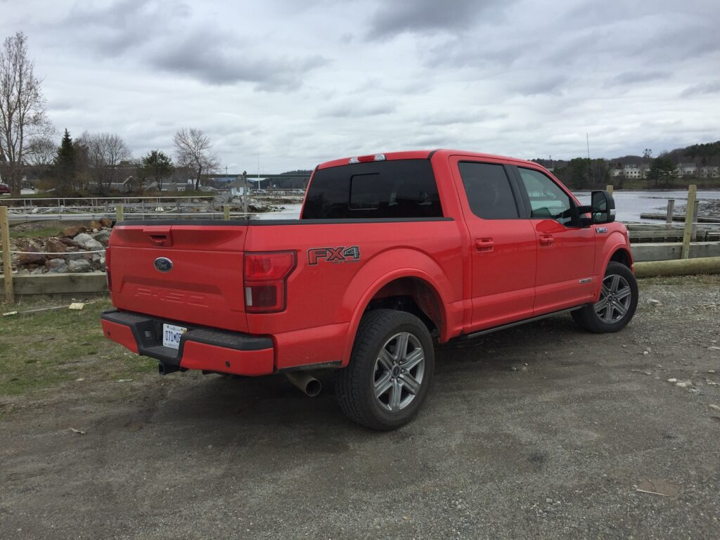 The F-150 in Lariat trim starts at $46,510, and as shown here, exceeds $60,000. Photo by Tim Plouff. Location: Belfast Harbor.