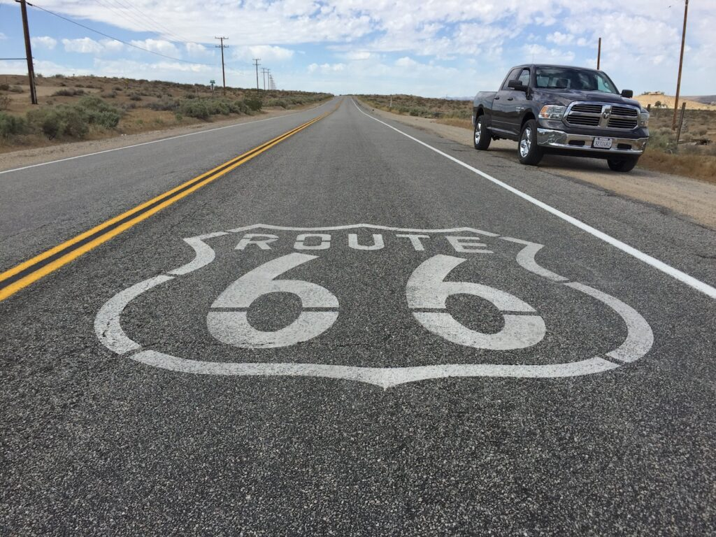 """... The roadway is painted with Route 66 logos every few miles."" Photo by Tim Plouff."