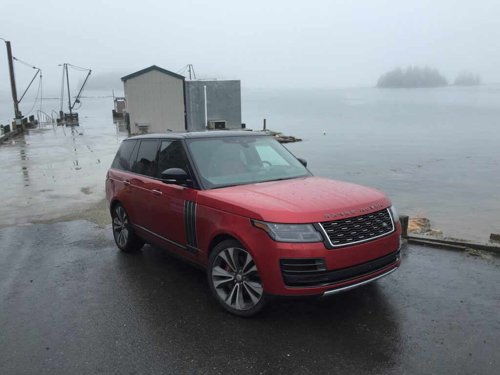 The sticker price on the Range Rover SV Autobiography series Dynamic model reviewed: $178,495. Photo by Tim Plouff. Location: Deer Isle.