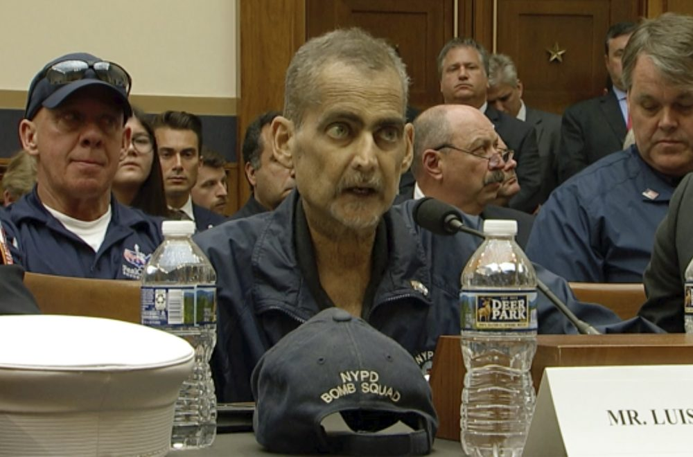 Retired NYPD Detective and 9/11 first responder Luis Alvarez speaks during a hearing before the House Judiciary Committee in Washington on June 11.