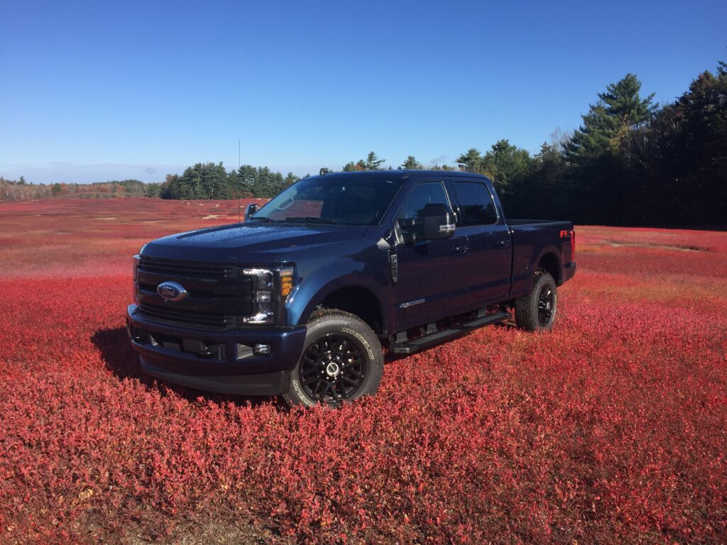 Almost one-third of all F-series pickups sold are the heavy-duty Super Duty models (base price $33,150) in 2500, 3500, and 4500 model designations. Our sample Super Duty is the 2500 Crew Cab in Blue Jeans Metallic Paint powered by the optional Powerstroke Turbodiesel engine ($9,120).