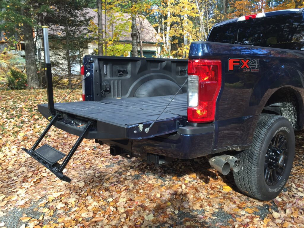 In addition to spring assist tailgates, LED box lamps and power sockets, this model included the optional deployable step from inside the tailgate. With bed walls 57-inches off the pavement, few people will be able to reach over the sidewall and grab what's needed.