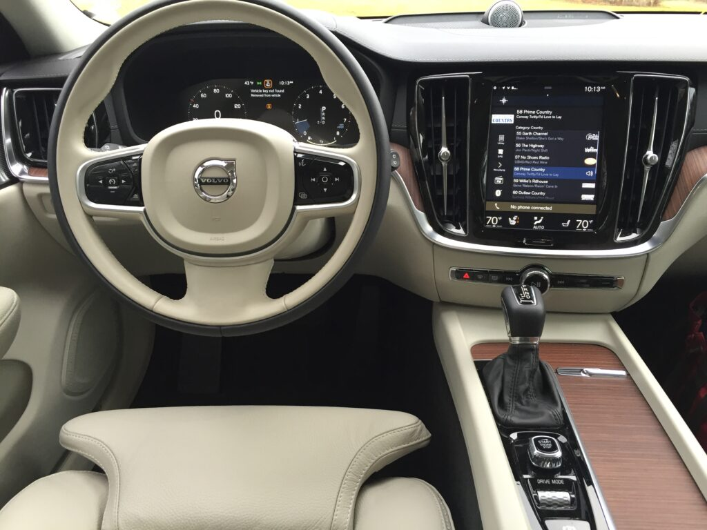 Like so many new arrivals, the Volvo is loaded with tech. There is a mobile app with remote start, wi-fi hotspot, smartphone integration, plus apps in the 12.3-inch entertainment screen for Pandora, Spotify, and Tunein.