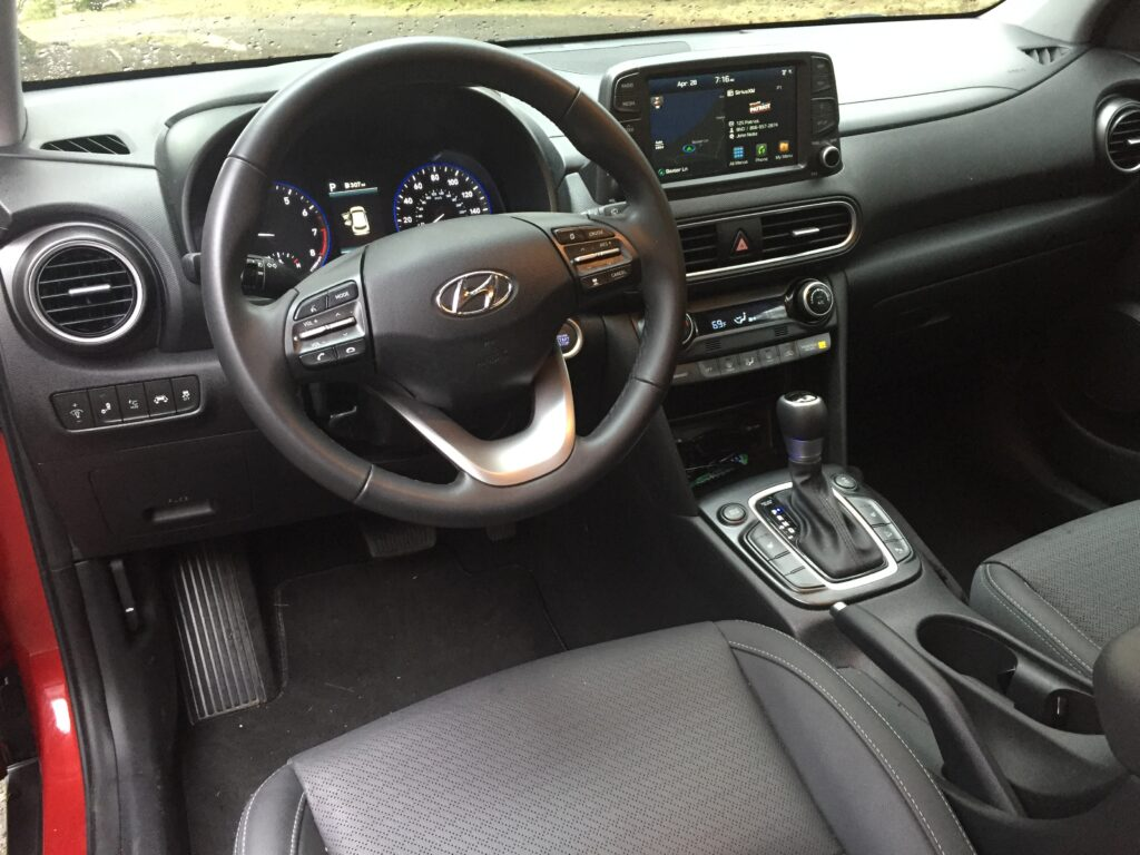 Interior of the Hyundai Kona Ultimate.