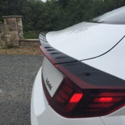 A closeup of the tail fin on a 2020 Hyundai Sonata Hybrid