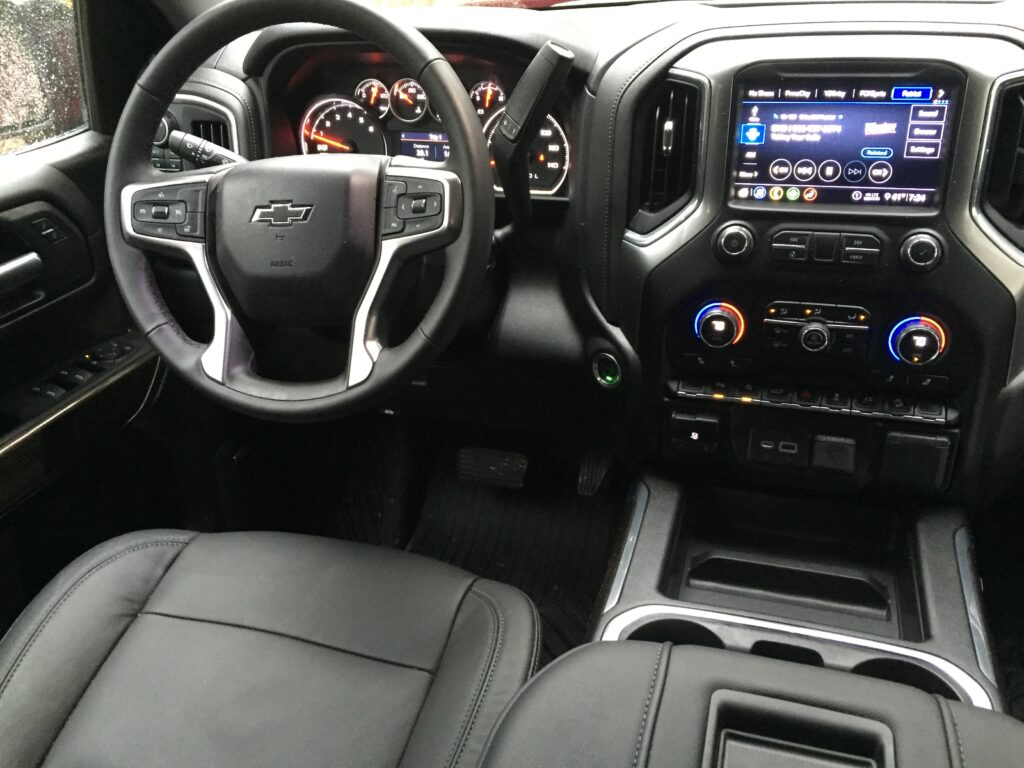 The sampled Trail Boss also included selectable drive modes, heated steering wheel, Bose stereo upgrade, heated leather seating, power rear window, and LED lites in the Durabed box as well as a power outlet.