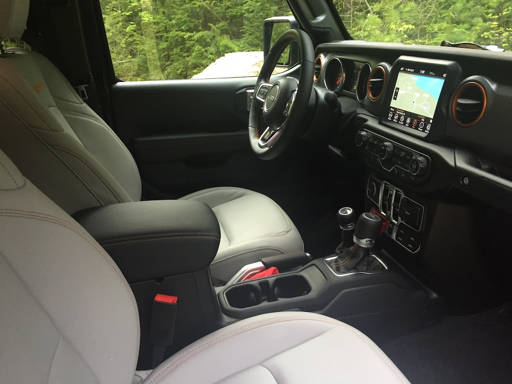 Interior of our reviewer's model of the Jeep Gladiator with Mojave trim, which is off-road and desert rated.