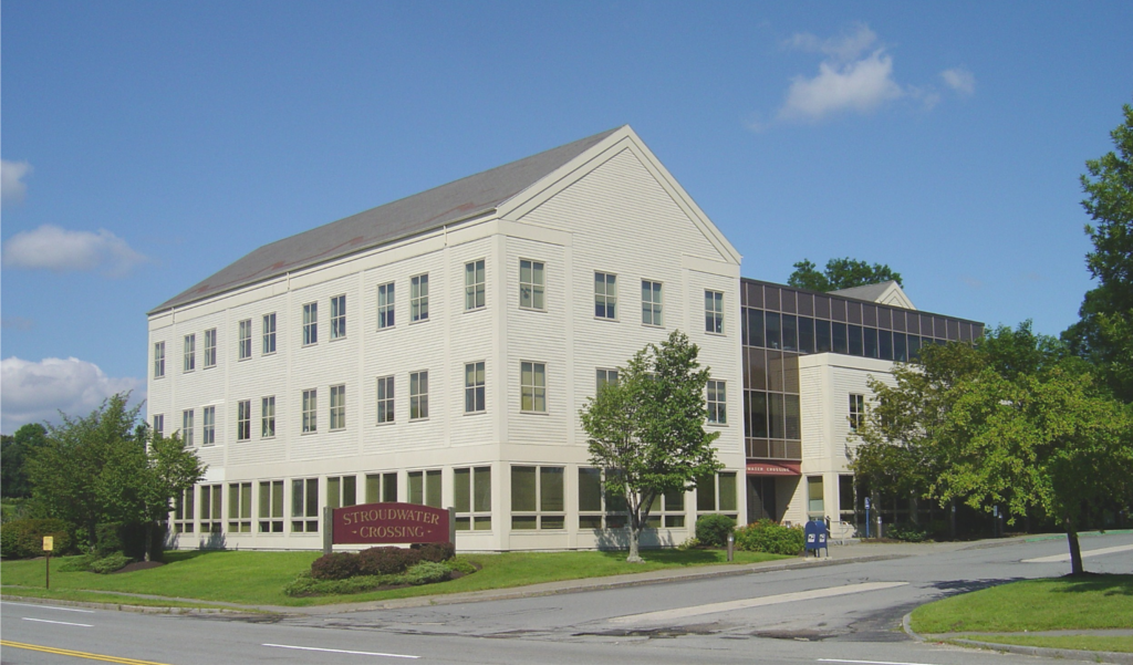 The clapboard-sided building fits right into in historic Stroudwater Village.