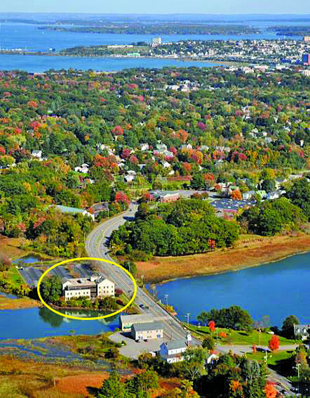 Aerial view of Stroudwater Crossing and Portland