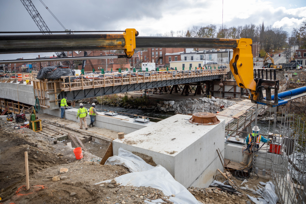 In Gardiner, MaineDOT worked with contracting partners to construct a new bridge deck adjacent to the old one before sliding the 700-ton replacement into place over the course of several days.
