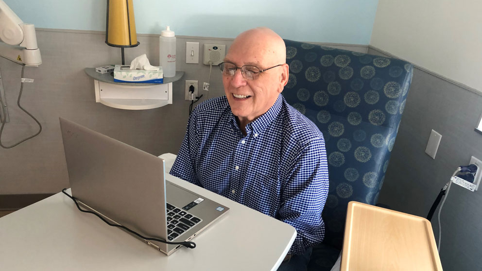John Pierce is a cancer patient who is participating in the Maine Cancer Genomics Initiative. Pierce was able to take part in the MCGI tumor board meeting online in March of 2020.