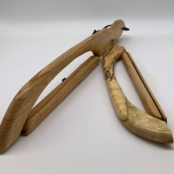 two large bread knives handmade of wood and steel