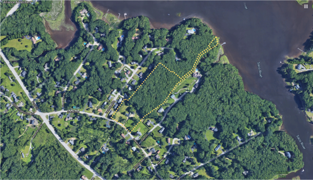 This aerial image of the Tide Water Estates parcel shows the approximate boundary of the 7.1± AC property.