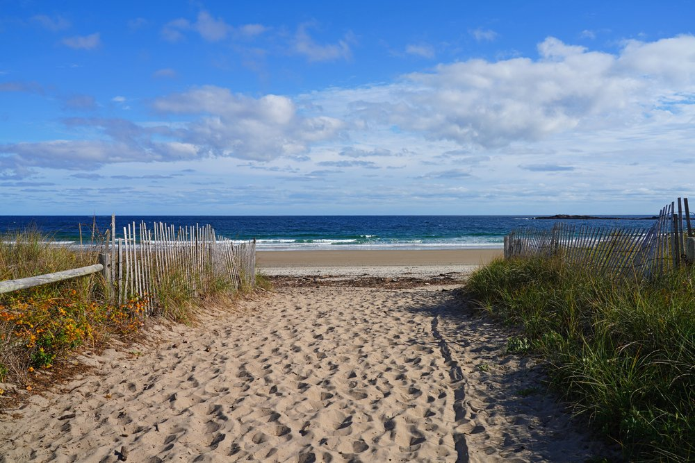 The entrance to Scarborough Beach State Park during the off-season.