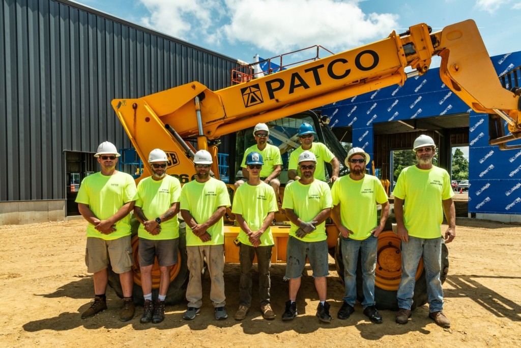 PATCO's Steel Crew poses outside of a construction site. The Sanford-based company has expanded its building and design capabilities alongside the growth of the cannabis industry in Maine.