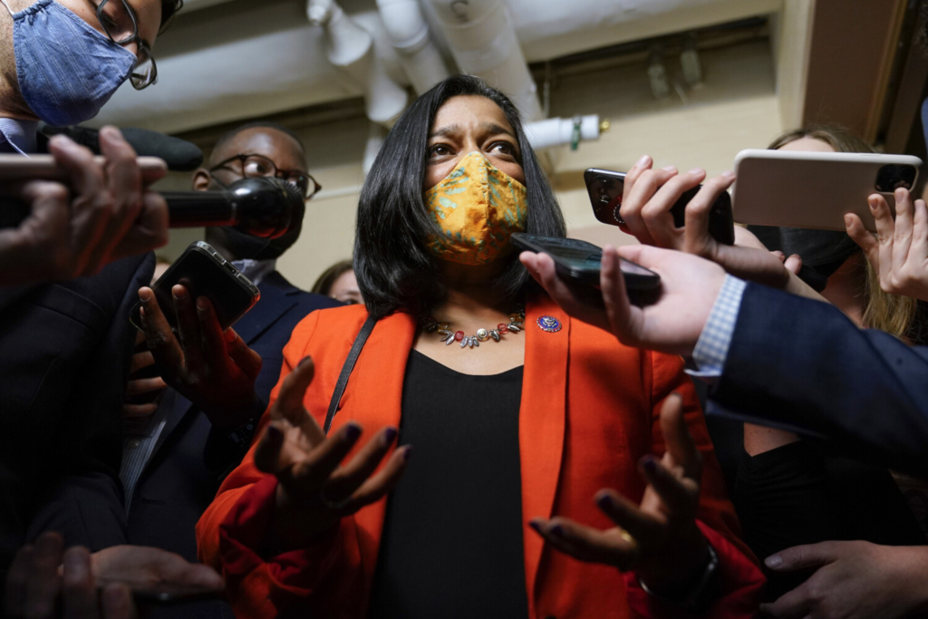 """Rep. Pramila Jayapal, D-Wash, speaks with reporters on Capitol Hill on Oct. 1. """"I've made it really clear to the (Progressive) caucus and people agree. The reason we got to where we got to is because we took a collective position,"""" she said. """"And we have to stay collective in our asks."""""""