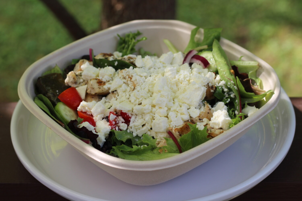 The Greek salad from Burke's Perks in Portland's Monument Square.