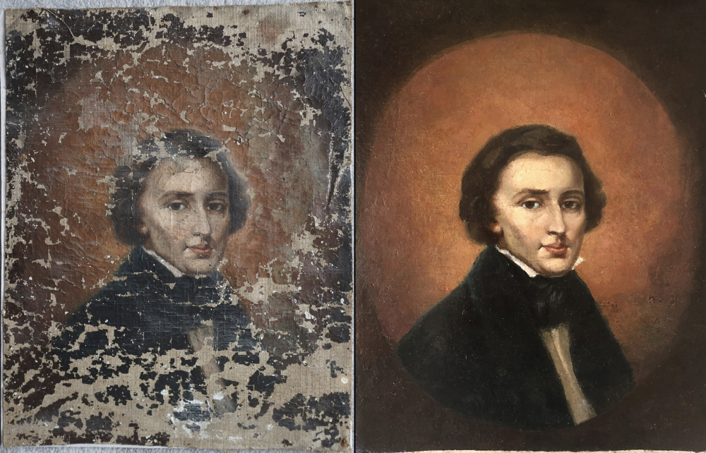 This combination of undated photos shows a portrait of Polish composer Frederic Chopin before and after restoration.