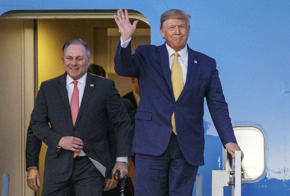 President Donald Trump and House Minority Whip Steve Scalise, R-La., arrive in Lake Charles, La., in 2019.